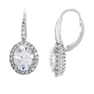 Sterling Essentials Sterling Silver Oval-cut Cubic Zirconia Halo Dangle Earrings