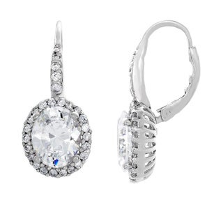 Sterling Silver Oval-cut Cubic Zirconia Halo Dangle Earrings