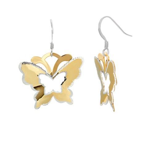 Sterling Silver Two-Tone Laser-Cut Butterfly Dangle Earrings