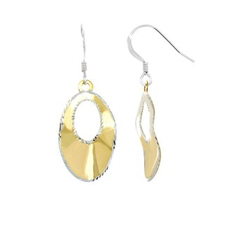 Sterling Essentials Yellow Goldplated Silver Two-Tone Laser-Cut Oval Drop Earrings