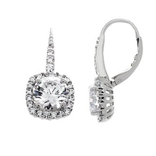 Sterling Silver Cubic Zirconia Square Halo Dangle Earrings