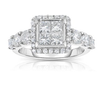 Eloquence 10k White Gold 2ct TDW Diamond Engagement Ring (J-K, I1-I2)