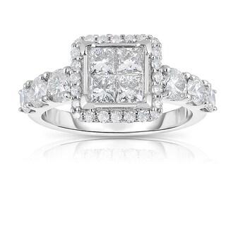 Eloquence 10k White Gold 2ct TDW Diamond Engagement Ring (J-K, I1-I2)