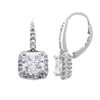 Rhodium-plated Sterling Silver Princess-cut Cubic Zirconia Halo Dangle Earrings