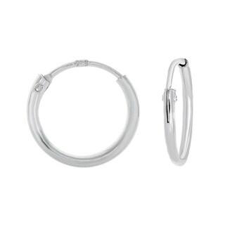 Sterling Essentials Silver 10mm Skinny Hoop Earrings (Set of 6)