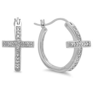 Sterling Essentials Sterling Silver Cubic Zirconia Sideways Cross Hoop Earrings