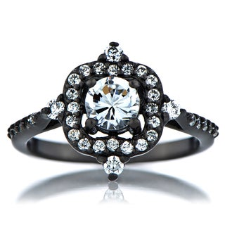 Black-plated Sterling Silver Cubic Zirconia Vintage Style Engagement Ring