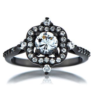 Black-plated Sterling Silver Cubic Zirconia Vintage Style Engagement Ring|https://ak1.ostkcdn.com/images/products/9306232/P16467592.jpg?impolicy=medium