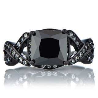 Sterling Silver Black Cubic Zirconia Princess-cut Twisted Engagement Ring