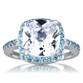 Sterling Silver Cushion-cut Blue Cubic Zirconia Engagement Ring