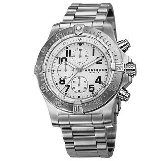 Akribos XXIV Men's Chronograph Quartz Stainless Steel Silver-Tone Bracelet Watch