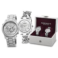 Akribos XXIV Women's Quartz Diamond/Multifunction Silver-Tone Bracelet Watch Set