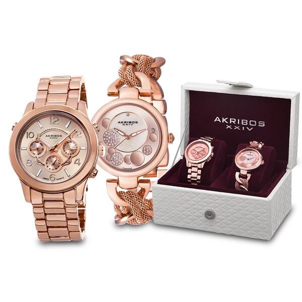 Akribos XXIV Women's Quartz Diamond/Multifunction Rose-Tone Bracelet Watch Set with FREE GIFT