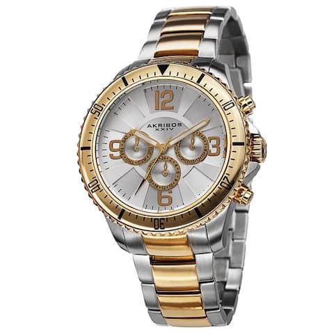 Akribos XXIV Men's Multifunction Swiss Quartz Stainless Steel Two-Tone Bracelet Watch