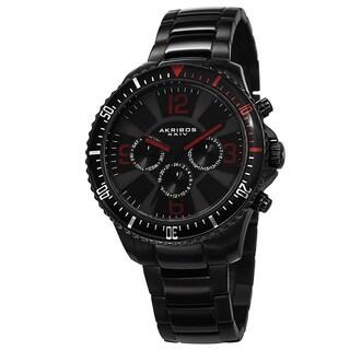Akribos XXIV Men's Multifunction Swiss Quartz Stainless Steel Black Bracelet Watch