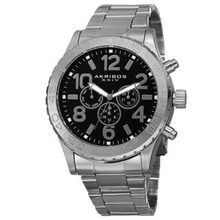 Akribos XXIV Men's Swiss Quartz Multifunction Stainless Steel Silver-Tone Bracelet Watch