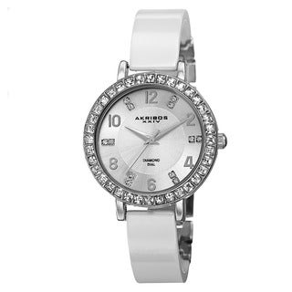 Akribos XXIV Women's Swiss Quartz Diamond-Accented Ceramic Bangle Silver-Tone Watch with FREE Bangle