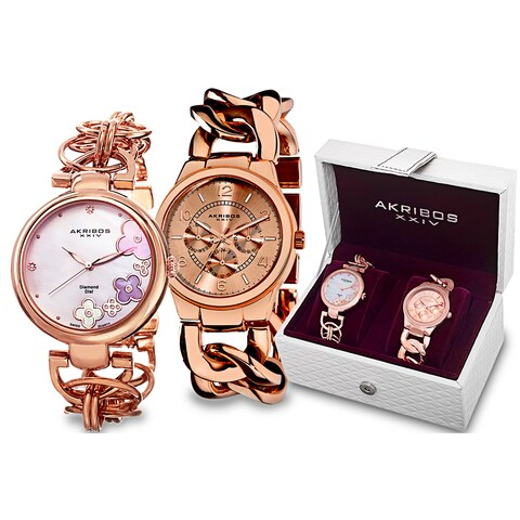 Akribos XXIV Women's Quartz Diamond/Multifunction Chain Link Rose-Tone Bracelet Watch Set