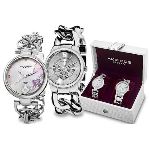 Akribos XXIV Women's Quartz Diamond/Multifunction Chain Link Silver-Tone Bracelet Watch Set