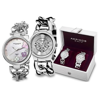 Akribos XXIV Women's Quartz Diamond/Multifunction Chain Link Silver-Tone Bracelet Watch Set