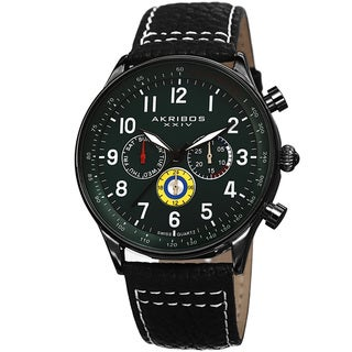 Akribos XXIV Men's Swiss Quartz Multifunction Tachymeter Leather Green Strap Watch