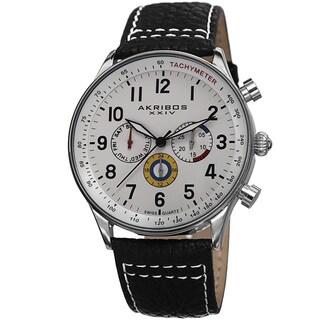 Akribos XXIV Men's Swiss Quartz Multifunction Tachymeter Leather Silver-Tone Strap Watch with FREE GIFT