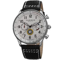 Akribos XXIV Men's Swiss Quartz Multifunction Tachymeter Leather Silver-Tone Strap Watch