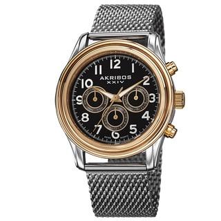 Akribos XXIV Men's Swiss Quartz Stainless Steel Mesh Gold-Tone Strap Watch