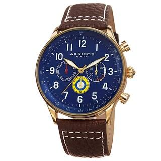 Akribos XXIV Men's Swiss Quartz Multifunction Tachymeter Leather Brown Strap Watch