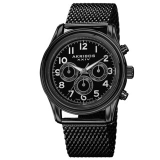 Akribos XXIV Men's Swiss Quartz Stainless Steel Mesh Black Strap Watch