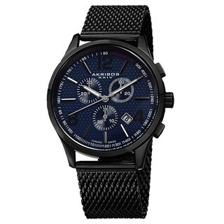 Akribos XXIV Men's Swiss Quartz Chronograph Stainless Steel Mesh Blue Bracelet Watch
