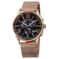 Akribos XXIV Men's Swiss Quartz Chronograph Stainless Steel Mesh Rose-Tone Bracelet Watch