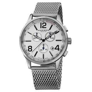 Akribos XXIV Men's Swiss Quartz Chronograph Stainless Steel Mesh Silver-Tone Bracelet Watch