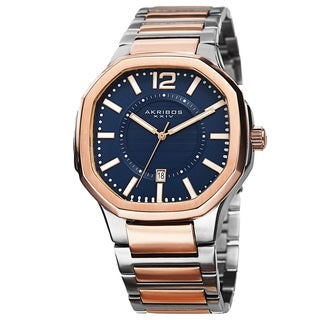 Akribos XXIV Men's Date Step-Dial Stainless Steel Two-Tone Bracelet Watch with FREE GIFT