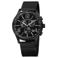 Akribos XXIV Men's Swiss Quartz Chronograph Stainless Steel Mesh Black Bracelet Watch