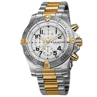 Akribos XXIV Men's Chronograph Quartz Stainless Steel Two-Tone Bracelet Watch