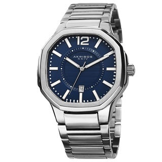 Akribos XXIV Men's Date Step-Dial Stainless Steel Blue Bracelet Watch with FREE GIFT
