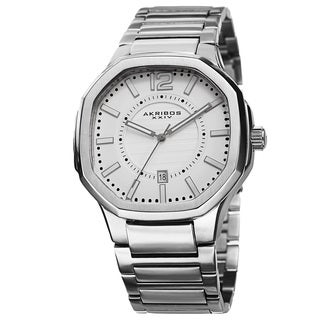 Akribos XXIV Men's Date Step-Dial Stainless Steel Silver-Tone Bracelet Watch with FREE GIFT