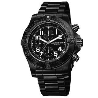 Akribos XXIV Men's Chronograph Quartz Stainless Steel Black Bracelet Watch