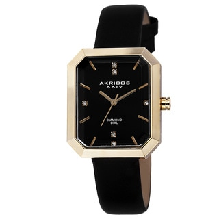 Akribos XXIV Women's Swiss Quartz Diamond Leather Black Strap Watch