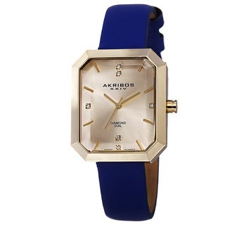 Akribos XXIV Women's Swiss Quartz Diamond Leather Blue Strap Watch