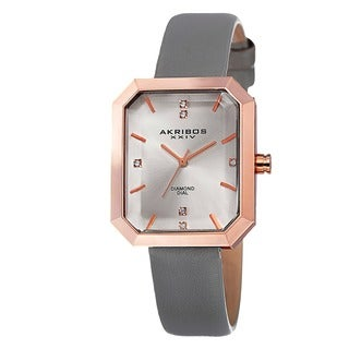 Akribos XXIV Women's Swiss Quartz Diamond Leather Grey Strap Watch