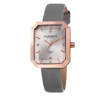 Akribos XXIV Women's Swiss Quartz Diamond Leather Grey Strap Watch with FREE GIFT