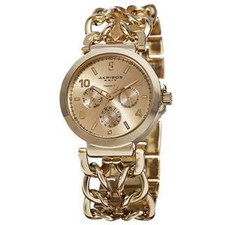 Akribos XXIV Women's Quartz Diamond Dial Chain Link Gold-Tone Bracelet Watch with FREE GIFT|https://ak1.ostkcdn.com/images/products/9306416/P16467641.jpg?impolicy=medium