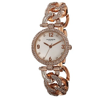 Akribos XXIV Women's Crystal-Accented Swiss Quartz Rose-Tone Bracelet Watch
