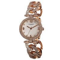 Akribos XXIV Women's Crystal-Accented Swiss Quartz Rose-Tone Bracelet Watch