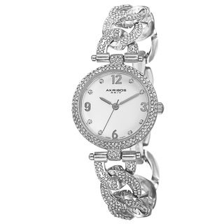 Akribos XXIV Women's Crystal-Accented Swiss Quartz Silver-Tone Bracelet Watch