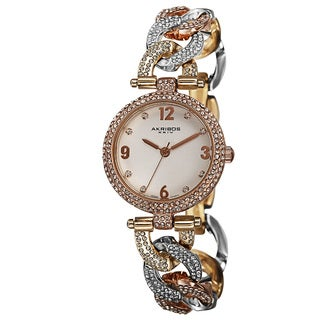 Akribos XXIV Women's Crystal-Accented Swiss Quartz Bracelet Watch with FREE GIFT