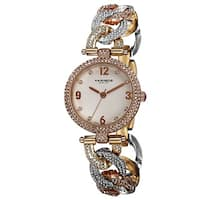 Akribos XXIV Women's Crystal-Accented Swiss Quartz Bracelet Watch with FREE Bangle