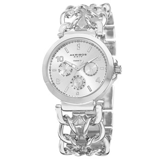 Akribos XXIV Women's Quartz Diamond Dial Chain Link Silver-Tone Bracelet Watch